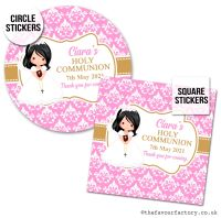 Communion Stickers Personalised Black Hair Girl x1 A4 Sheet.