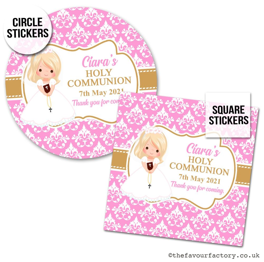 Communion Stickers Personalised Blonde Hair Girl x1 A4 Sheet.