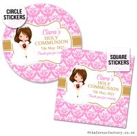 Communion Stickers Personalised Brown Hair Girl x1 A4 Sheet.