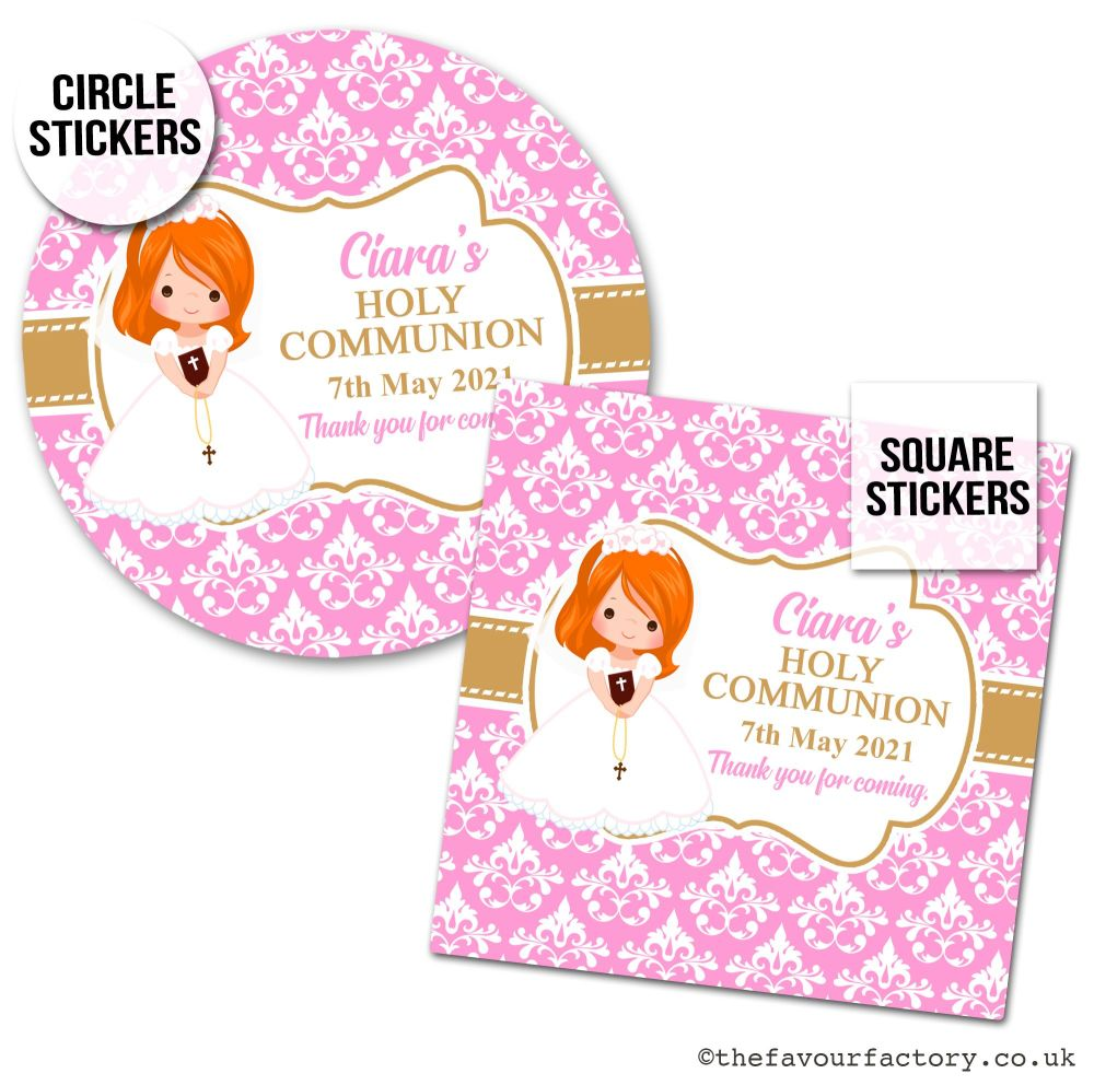 Communion Stickers Personalised Ginger Hair Girl x1 A4 Sheet.