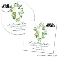 Communion Stickers Personalised Botanical Cross x1 A4 Sheet.
