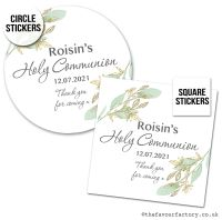 Communion Stickers Personalised Botanical Gold Leaf x1 A4 Sheet.