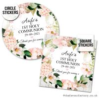 Communion Stickers Personalised Blush Hydrangeas x1 A4 Sheet.