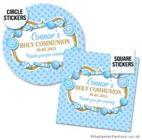 Communion Stickers Personalised Blue Sweets x1 A4 Sheet.