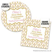 Communion Stickers Personalised Pink Floral Crosses x1 A4 Sheet.