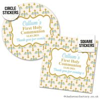 Communion Stickers Personalised Blue Floral Crosses x1 A4 Sheet.