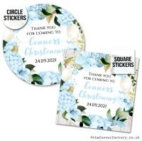 Personalised Christening Stickers Blue Hydrangeas