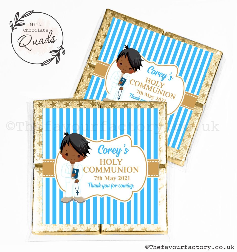 Communion Chocolate Quads Favours Black Boy x1