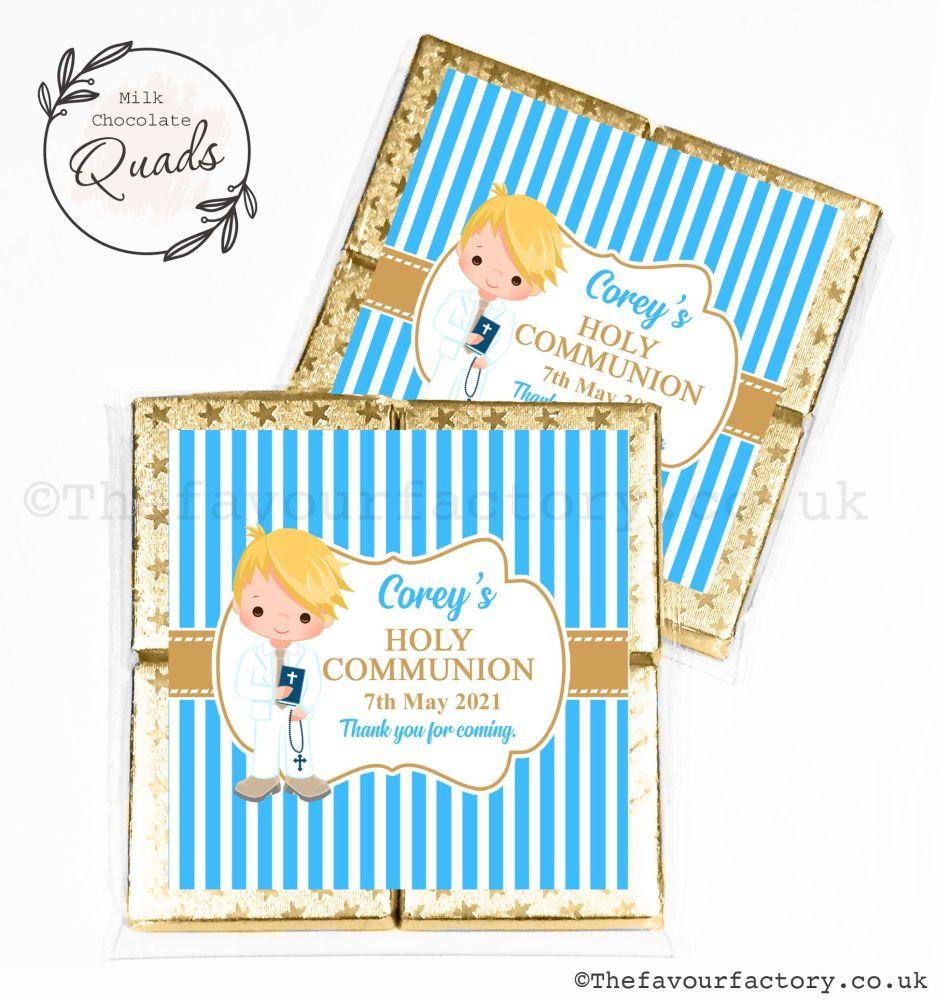 Communion Chocolate Quads Favours Blonde Boy x1