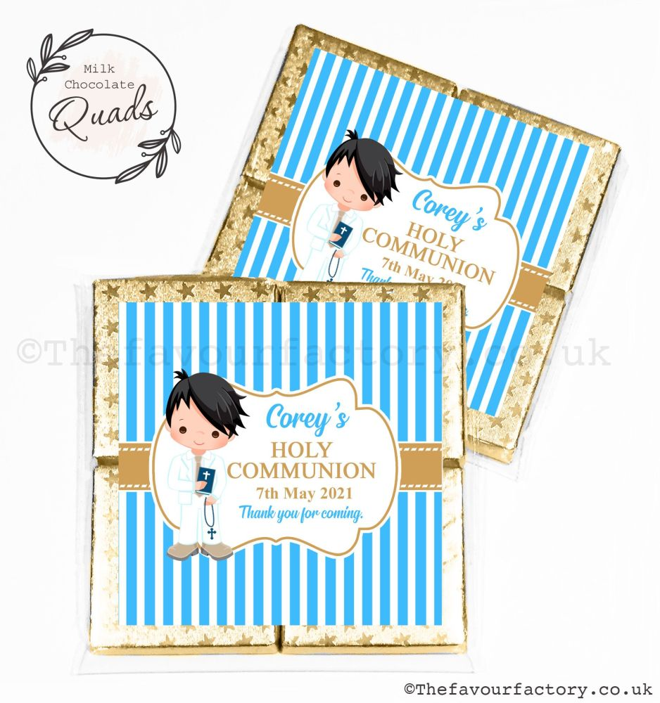 Communion Chocolate Quads Favours Black Hair Boy x1