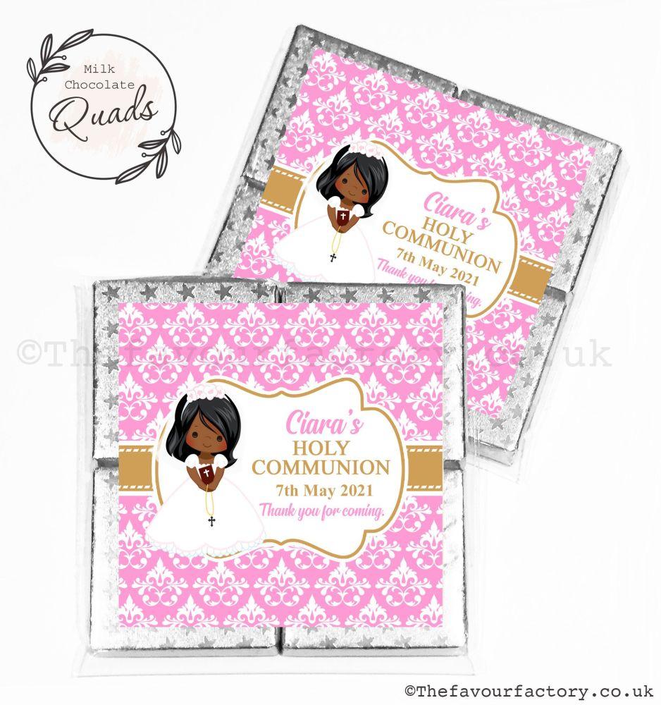 Communion Chocolate Quads Favours Black Girl x1