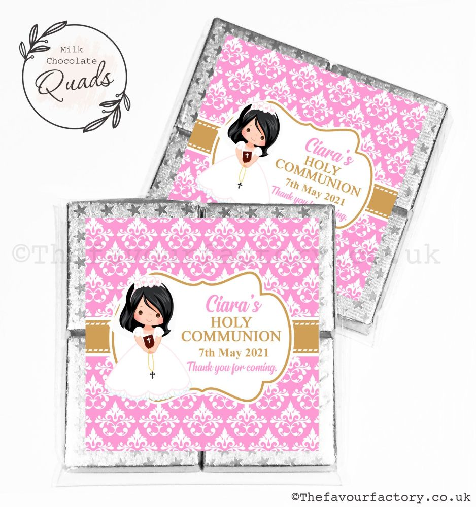 Communion Chocolate Quads Favours Black Hair Girl x1