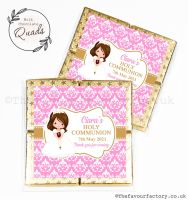 Communion Chocolate Quads Favours Brown Hair Girl x1