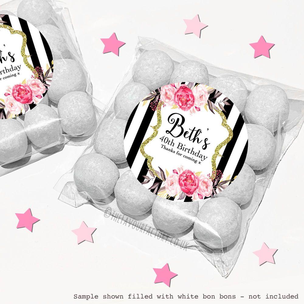 Adult Birthday Sweet Bags Kits Black Stripe Flowers x12