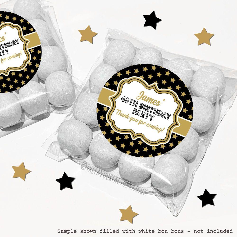 Adult Birthday Sweet Bags Kits Polka Dot Gold Stars x12