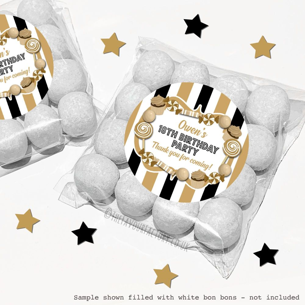Adult Birthday Sweet Bags Kits Black & Gold Sweets x12