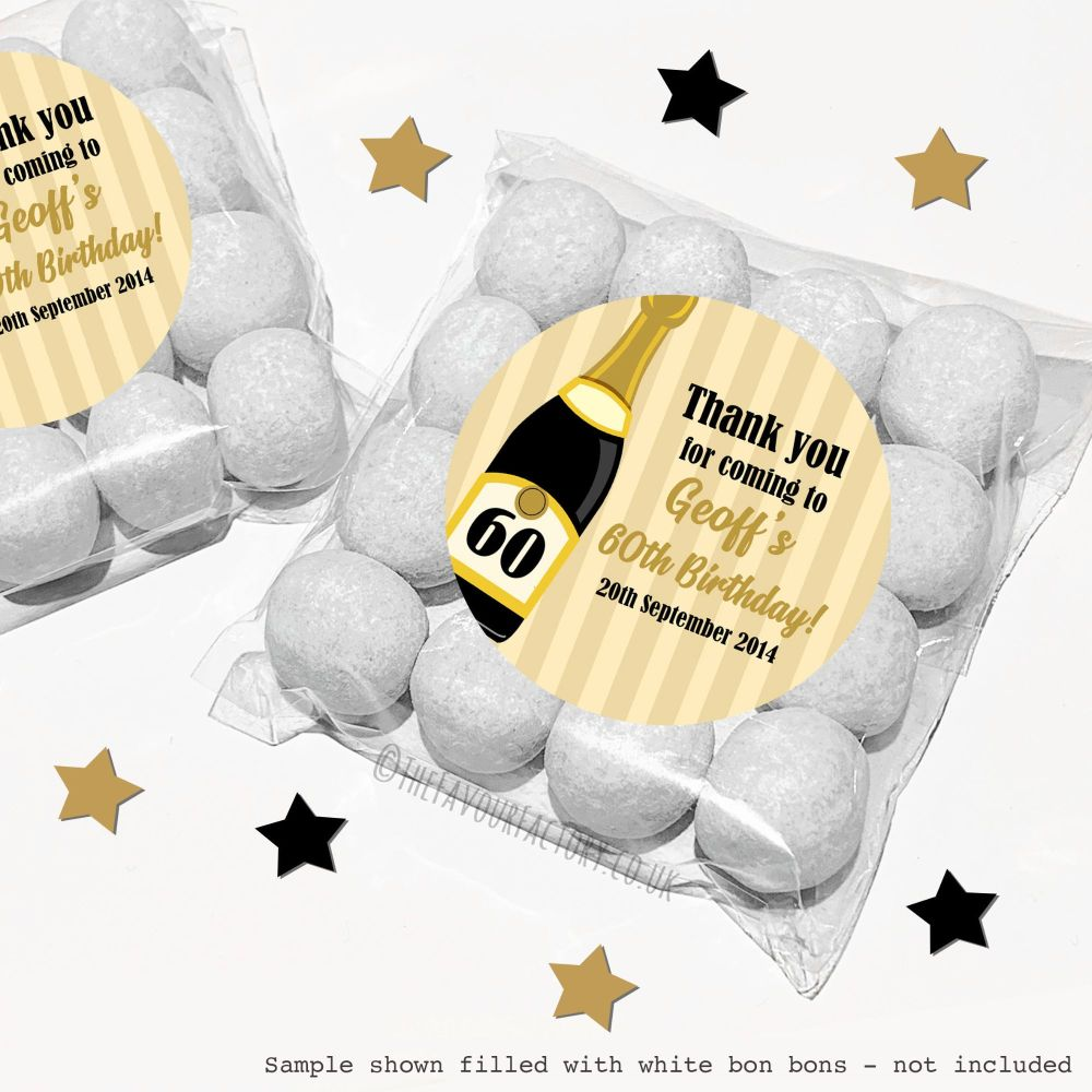 Adult Birthday Sweet Bags Kits Champagne Age x12