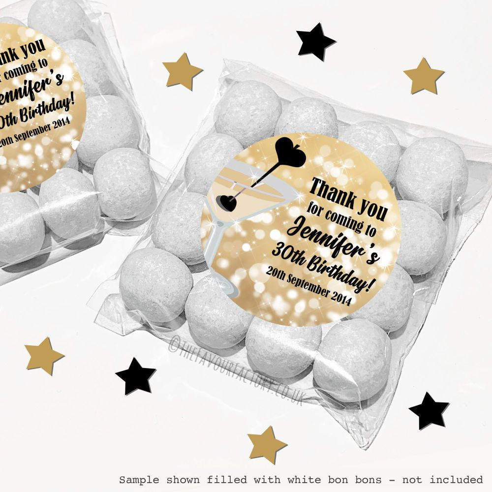 Adult Birthday Sweet Bags Kits Gold Cocktail Sparkles x12