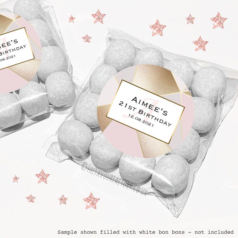 Adult Birthday Sweet Bags Kits Rose Gold Geometric x12