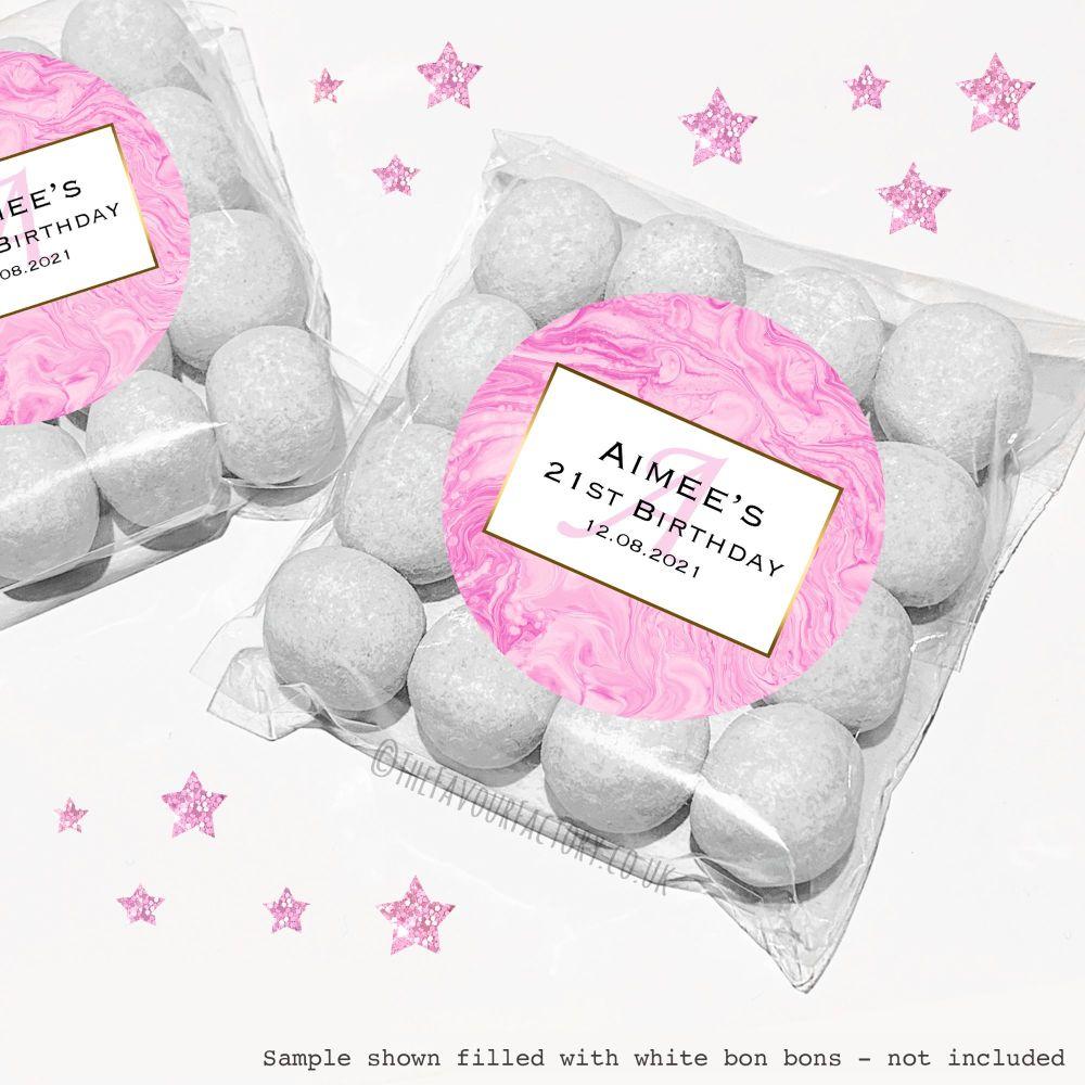 Adult Birthday Sweet Bags Kits Pink Liquid Marble x12