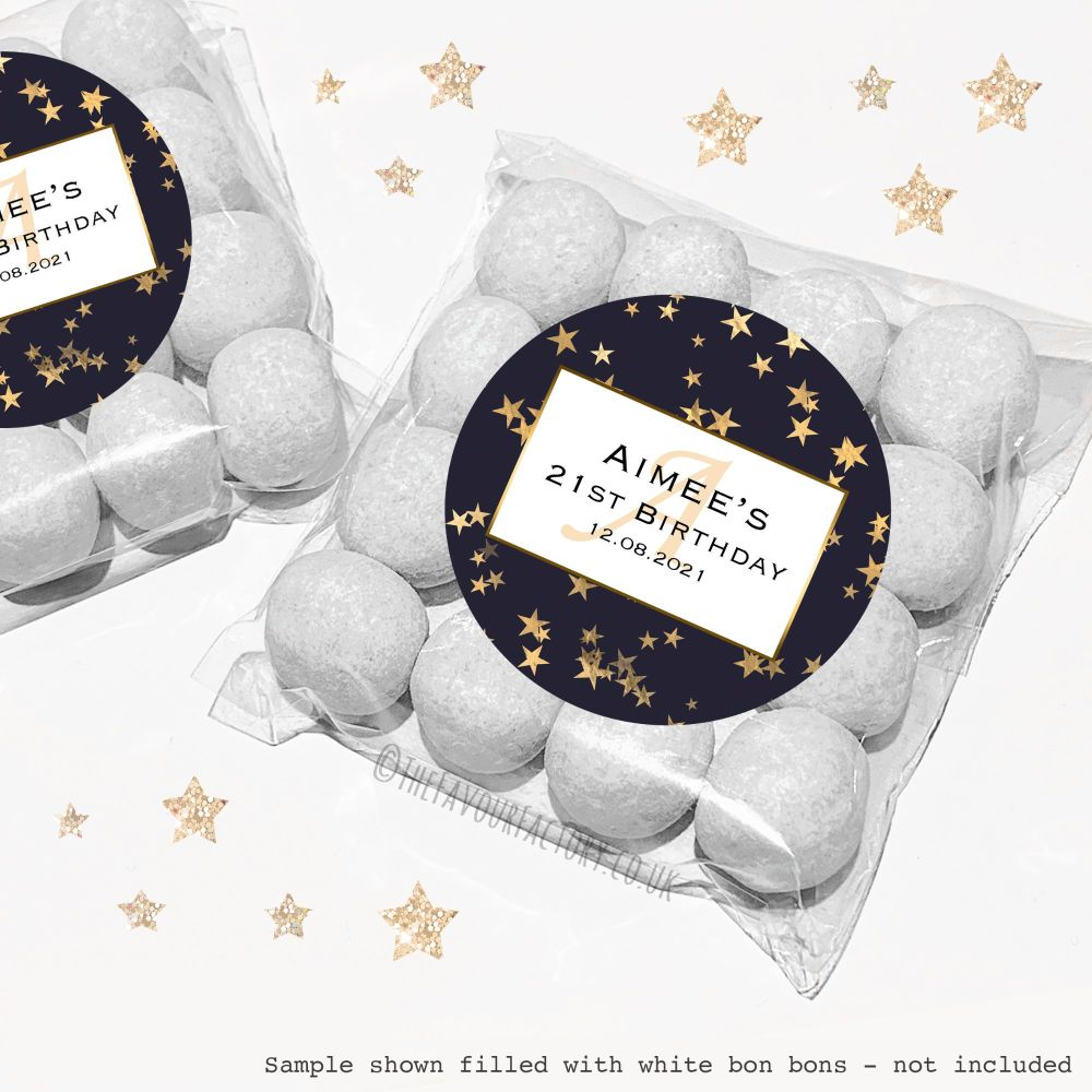 Adult Birthday Sweet Bags Kits Gold Foil Stars x12