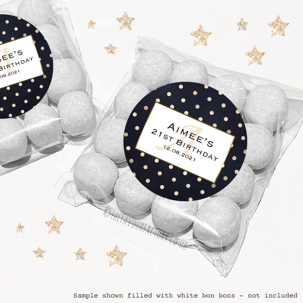 Adult Birthday Sweet Bags Kits Gold Foil Polka Dots x12