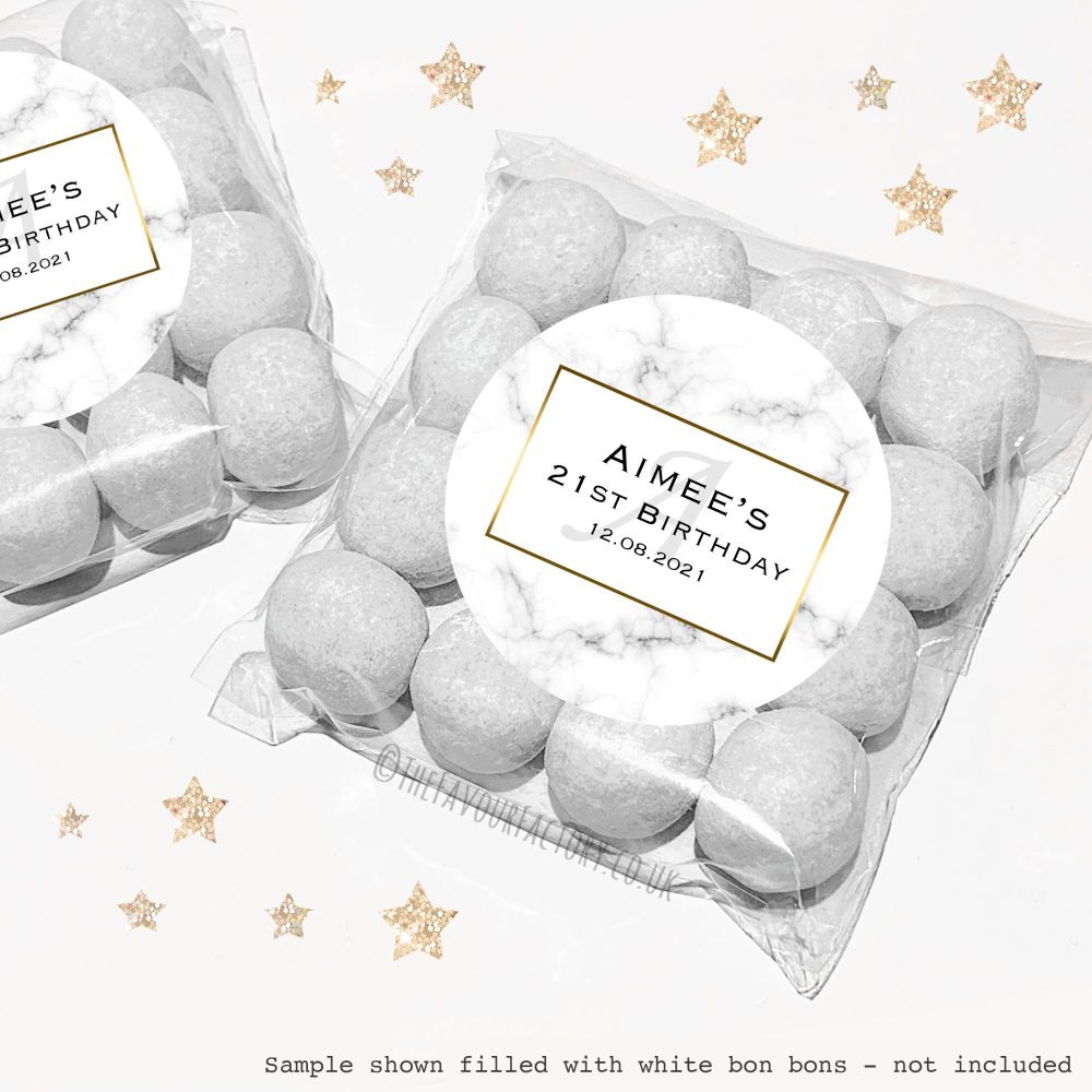 Adult Birthday Sweet Bags Kits Marble Monogram x12
