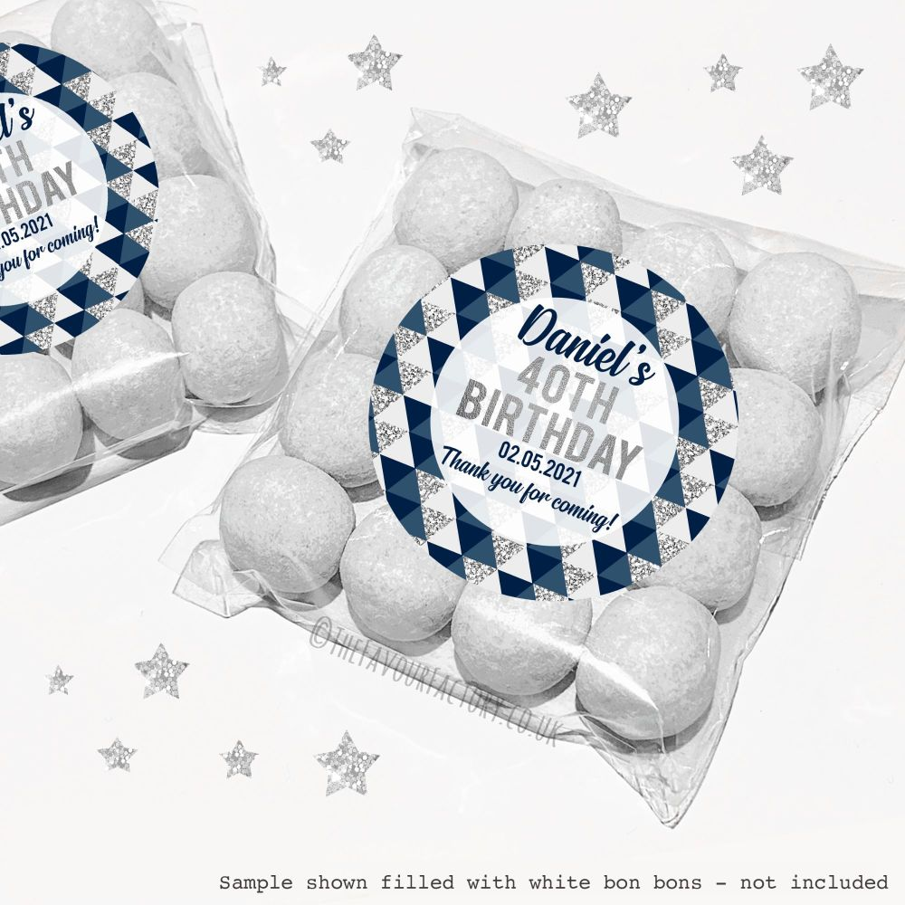 Adult Birthday Sweet Bags Kits Geo Shapes Navy & Silver x12