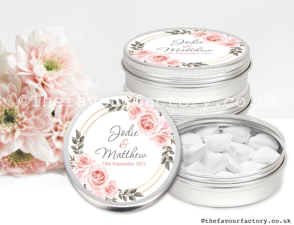 Personalised Wedding Favour Tins Blush Roses x1