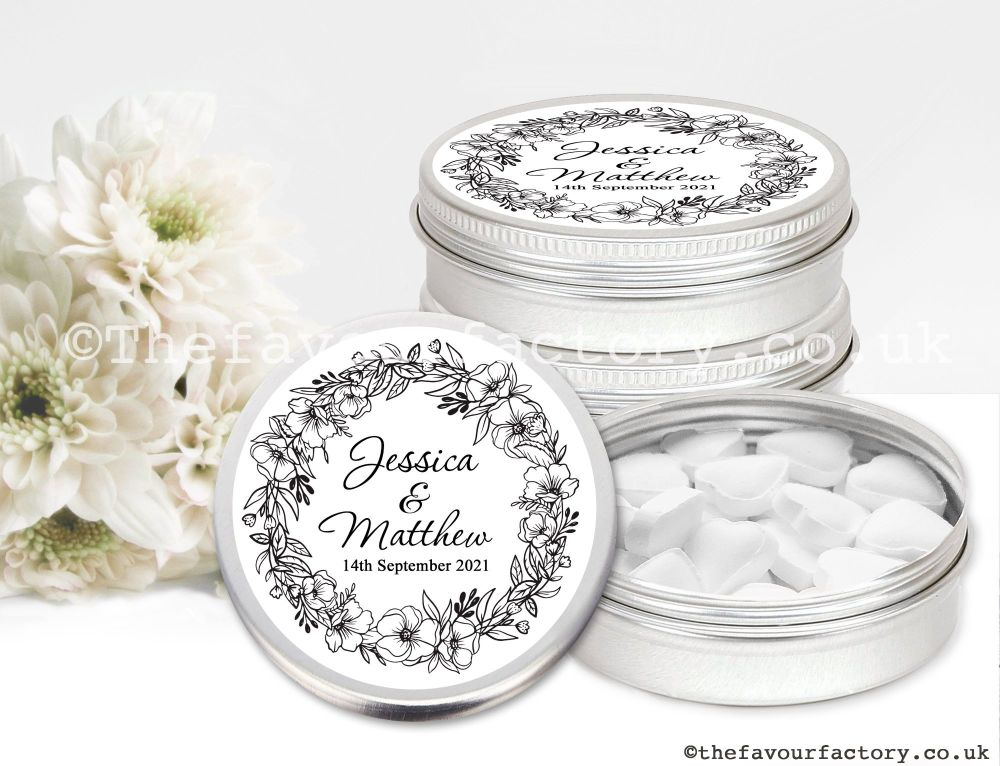 Personalised Wedding Favour Tins Black Line Art Floral Wreath x1