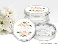 Personalised Wedding Favour Tins Blush Floral Frame x1