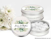 Personalised Wedding Favour Tins Botanical Leaves x1