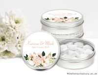 Personalised Wedding Favour Tins Blush Bouquet x1