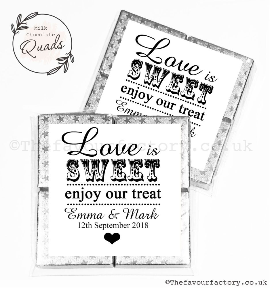 Wedding Favours Chocolate Quads Love Is Sweet x1