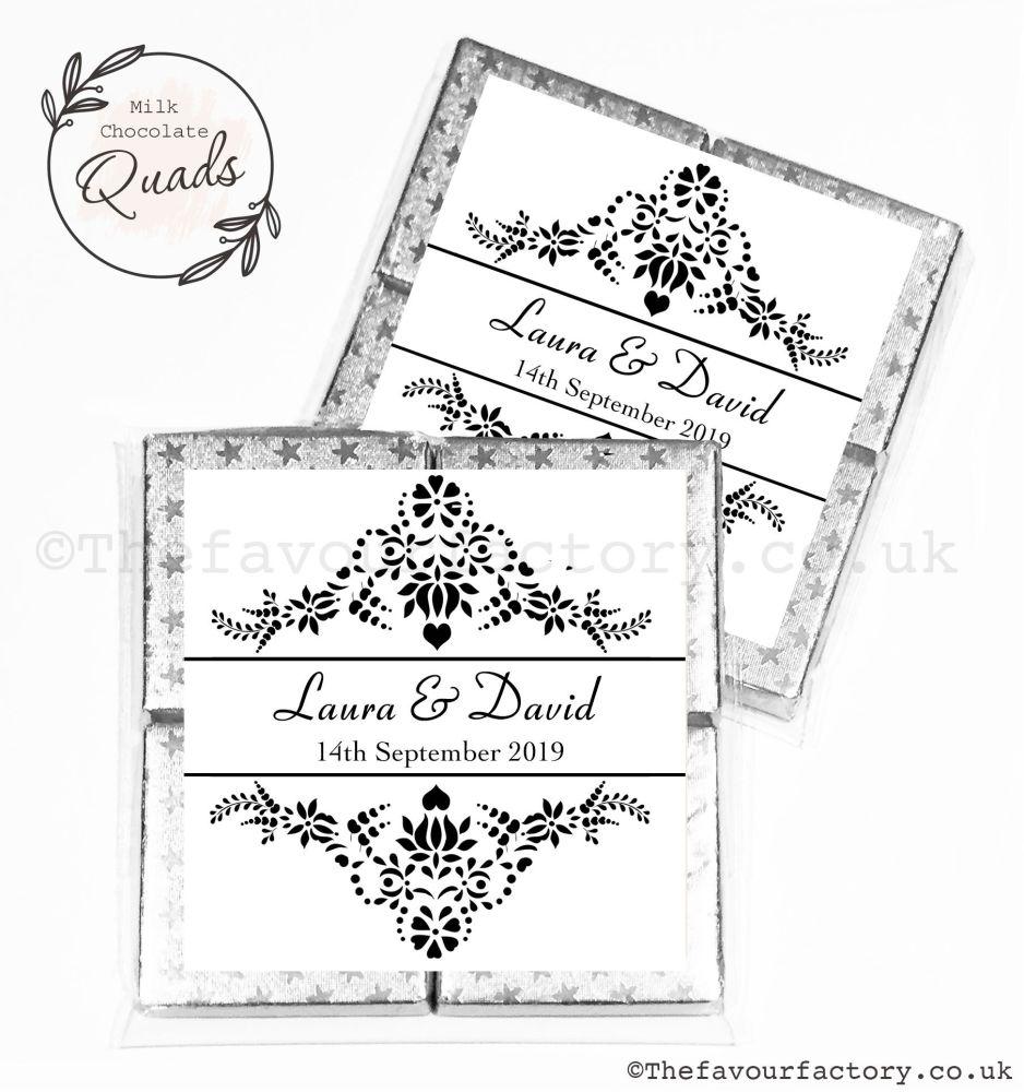 Wedding Favours Chocolate Quads Elegance x1
