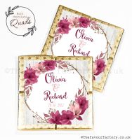 Wedding Favours Chocolate Quads Burgundy Blush Floral Wreath x1