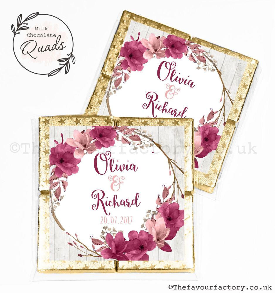 Wedding Favours Chocolate Quads Burgundy Blush Floral Wreath x1