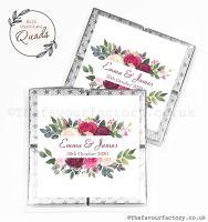 Wedding Favours Chocolate Quads Burgundy Blush Bouquet x1