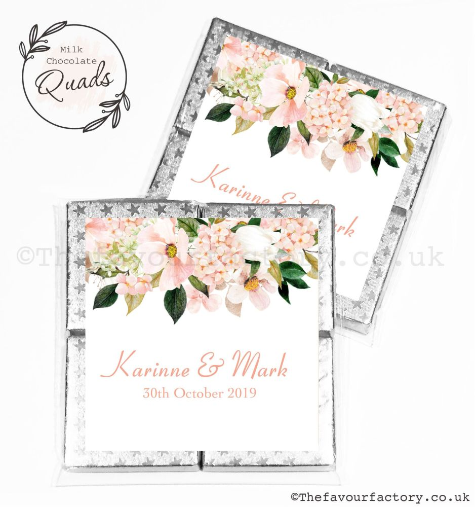 Wedding Favours Chocolate Quads Blush Floral Drop x1