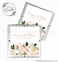 Wedding Favours Chocolate Quads Blush Floral Bouquet x1