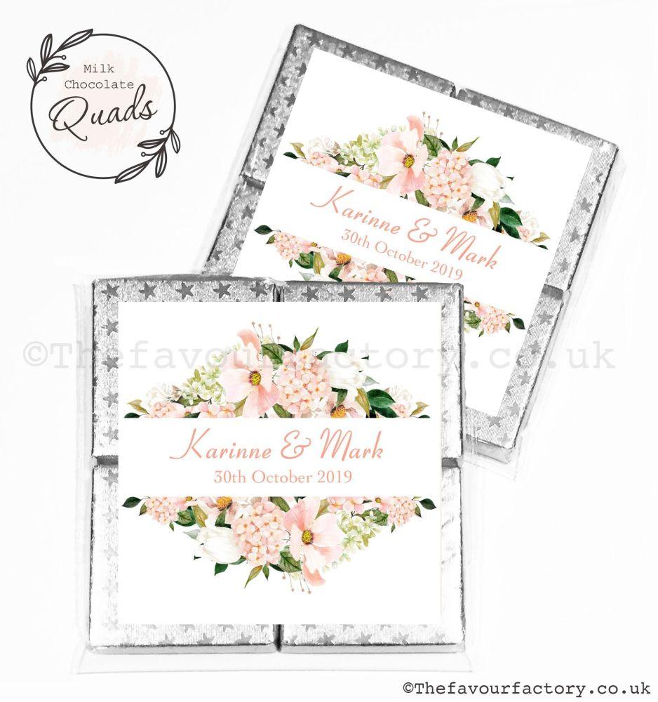 Wedding Favours Chocolate Quads Blush Floral Frame x1