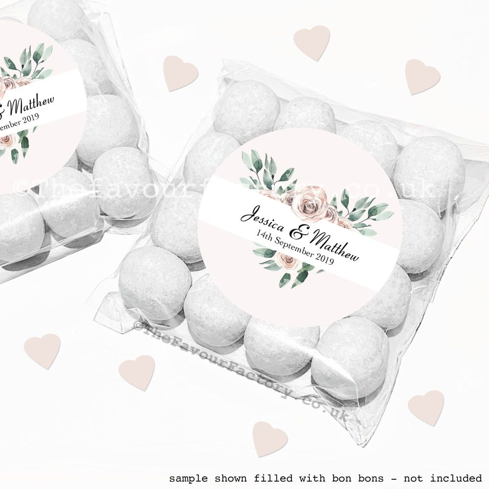 Wedding Sweet Bags Favour Kits Floral Heart Frame x12
