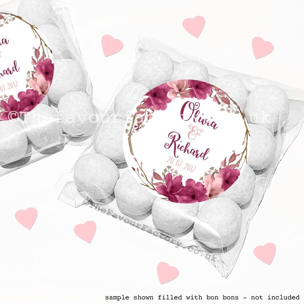 Wedding Sweet Bags Favour Kits Burgundy Blush Floral Wreath x12