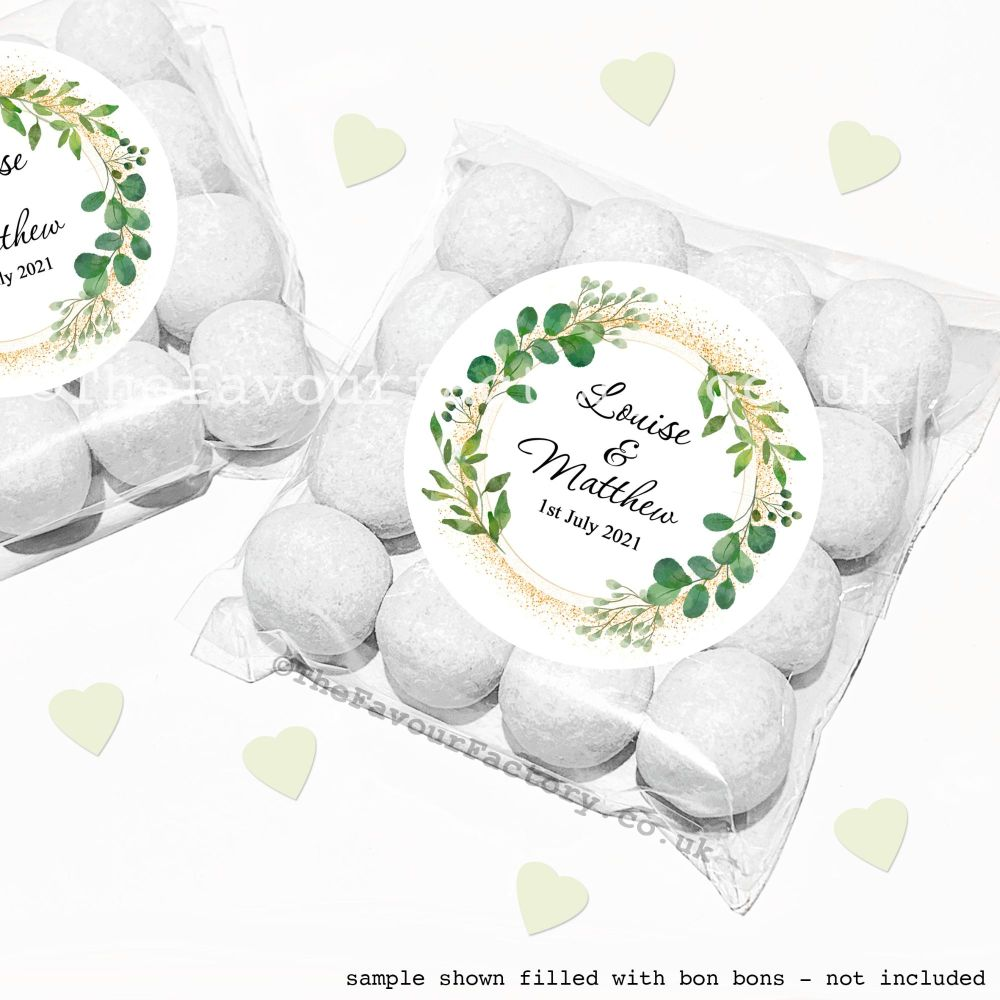 Wedding Sweet Bags Favour Kits Botanical Gold Dust x12