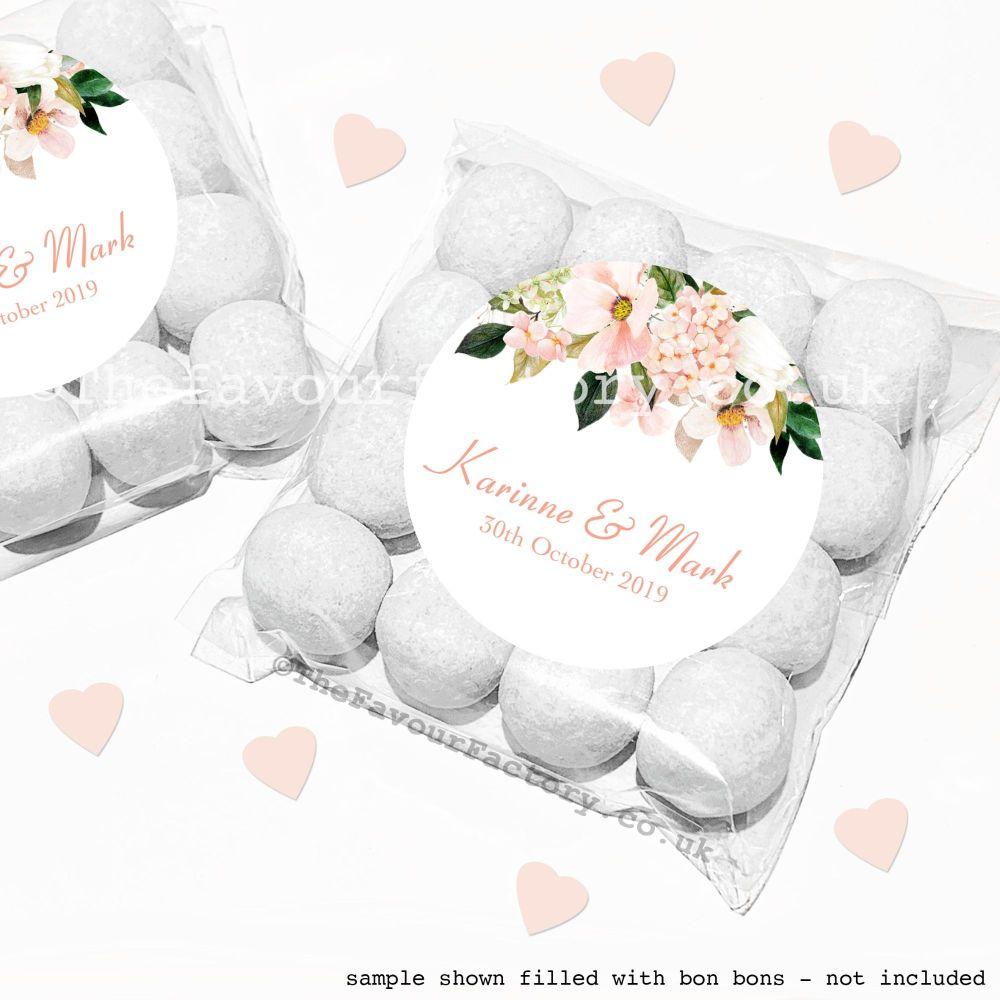 Wedding Sweet Bags Favour Kits Blush Floral Drop x12