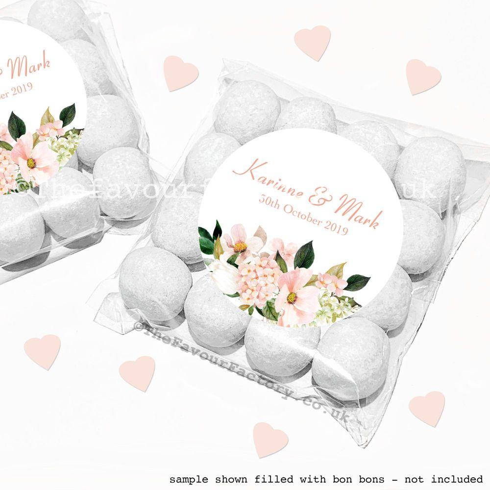 Wedding Sweet Bags Favour Kits Blush Floral Bouquet x12