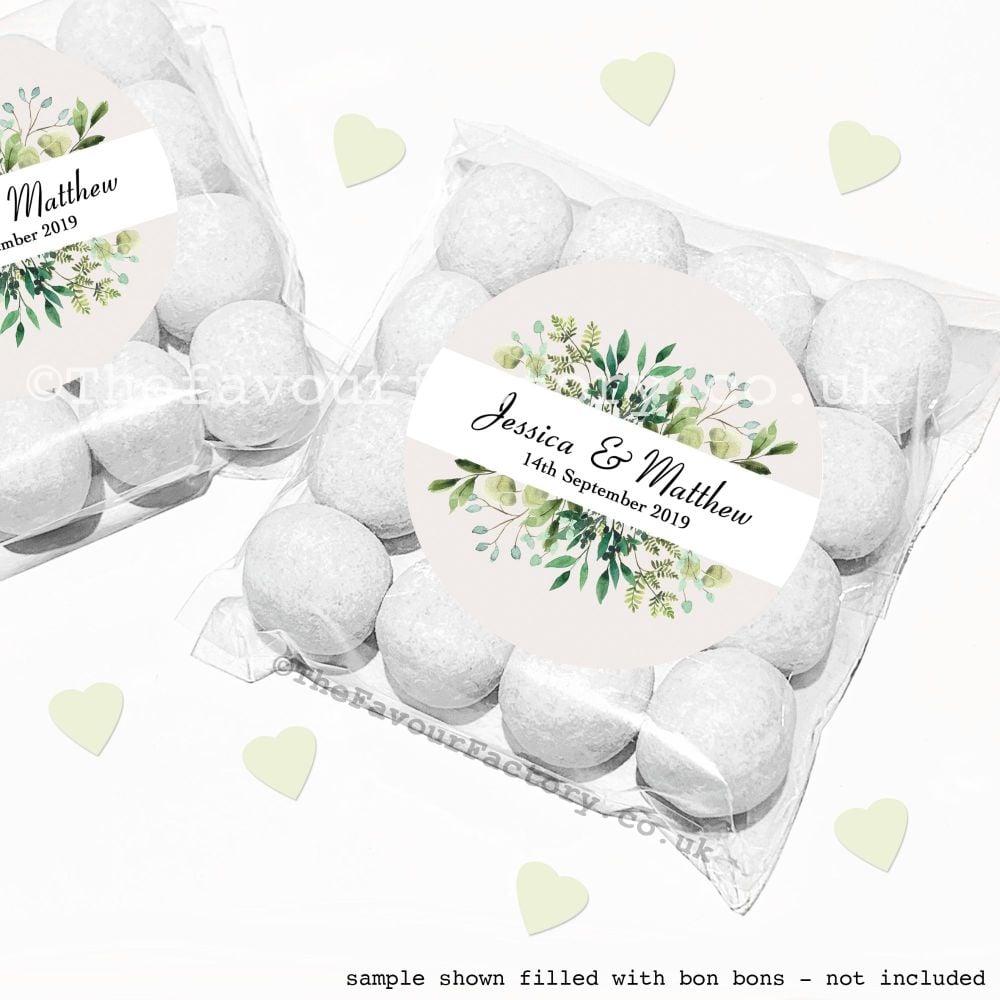 Wedding Sweet Bags Favour Kits Botanical Leaves x12