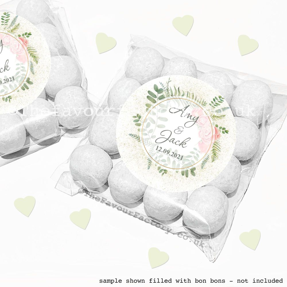 Wedding Sweet Bags Favour Kits Botanical Gold Dust Roses x12