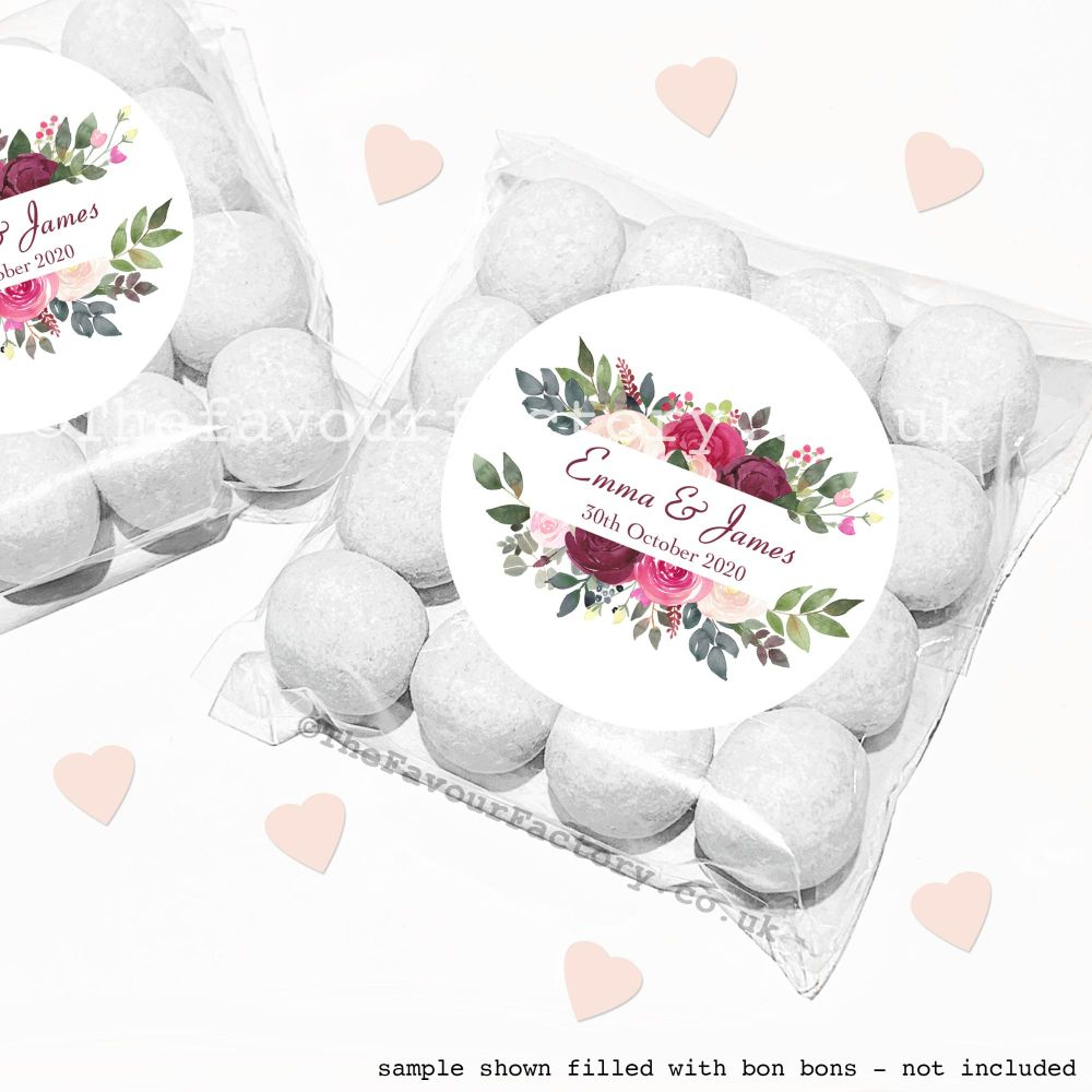 Wedding Sweet Bags Favour Kits Burgundy Blush Frame x12