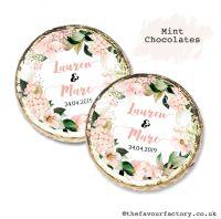 Wedding Mint Chocolates Personalised Blush Hydrangeas x10